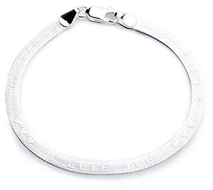 Silver Herringbone I Love You Bracelet of Length 18cm