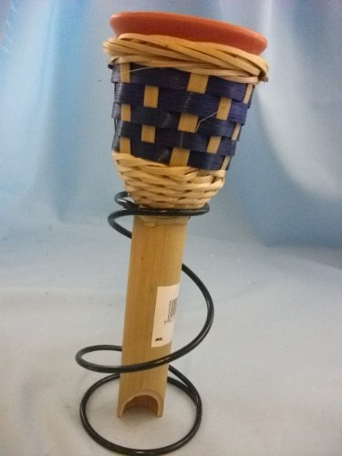 Garden Candle in Bamboo holder in BLUE weave design, complete with metal spiral stand. GG565 BLUE