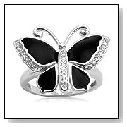 Sterling Silver Enamel Butterfly Diamond Ring