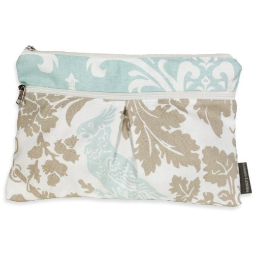 Logan + Lenora Wet + Dry Diaper Clutch - Carry Wipes, Diapers, Creams, Cloth Pads, Breast Pads, or Toiletries - Small Cloth Diaper Wet Bag with Dry Pocket - Made in USA - Waterproof (Blue Tweet)