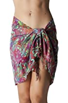 Short Swimsuit Sarong Cover up in Purple Floral Print with Fringe