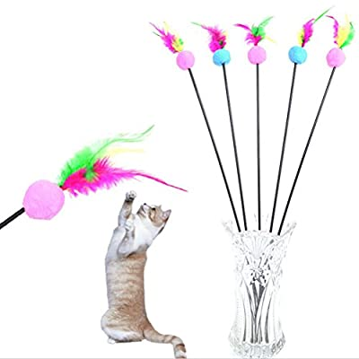 BESTIM INCUK 1 Piece Feather Teaser Interactive Stick Toy for Cat and Kitten - Cat Toy Interactive Cat Wand