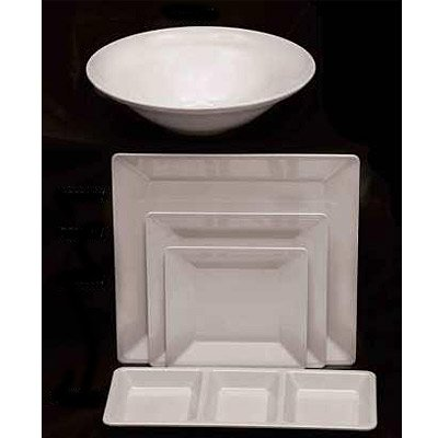 Excellanté Royal White Collection 13-3/4 By 13-3/4-Inch Square Plate, 2-1/4-Inch Deep, Royal White