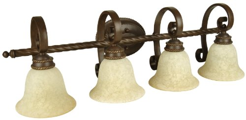 Craftmade 8136Ag4 Vanity Light With Antique Scavo Glass Shades, Aged Bronze Finish