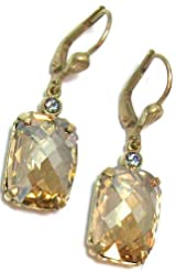 Catherine Popesco 14K Gold Plated Champagne Swarovski Crystal Dangle Earrings