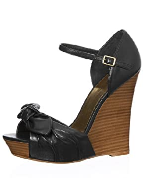 bebe.com : St. Barts Strappy Sandal :  bow leather wooden heel ankle strap