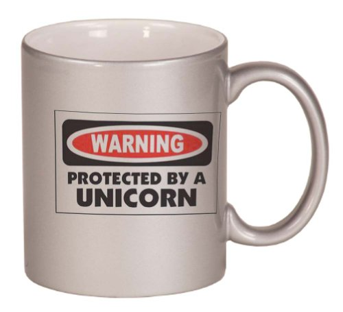 Warning Protected By A Unicorn Coffee Mug Metallic Silver 11 Oz