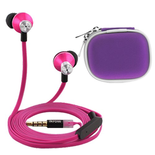 Ikross In-Ear 3.5Mm Noise-Isolation Stereo Earbuds With Microphone (Hot Pink / Black) + Purple Accessories Carrying Case For Apple Ipad Air, Mini 4, 3, 2, 1 Tablet Cellphone Smartphone And Mp3 Player