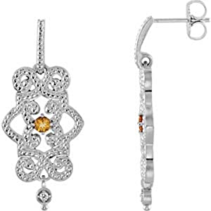 IceCarats Designer Jewelry Granulated Design Citrine And .03 Ctw Diamond Dangle Earrings 14K White Gold