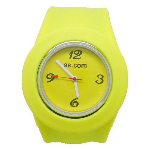 BestOfferBuy Unisex Round Silicon Band Strap Slap On Watch Analog Candy Yellow