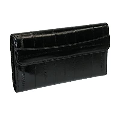 MJ Masters Womens Eel Skin Deluxe Wallet and Checkbook Cover, Black