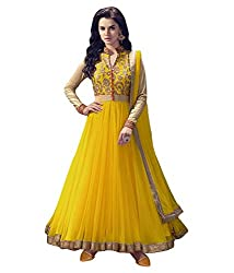 OMSAI FASHION Women's Yellow net Embroidery semi stitched Free Size Salwar Suit (Women's Yellow Indian Clothing )