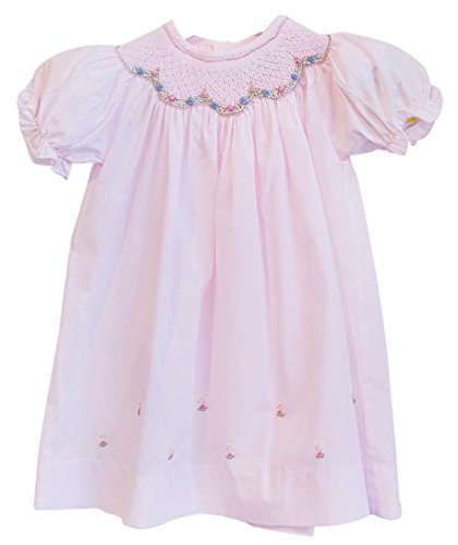 Carriage Boutique Girl's Hand Smocked Short Sleeve Dress 3 Months Pink