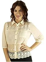 G2 Chic Women's Contrast Button-Up Lace Yoke Chiffon Shirt Blouse