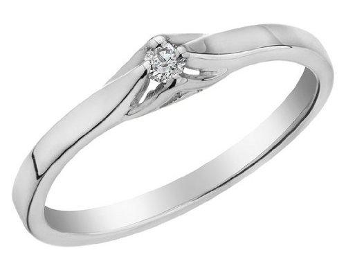 Diamond Promise Ring in 10K White Gold, Size 7.5