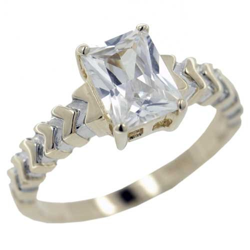 Pugster Emerald Cut Cz Two Tone Rings - Sterling Silver Promise Anniversary Ring