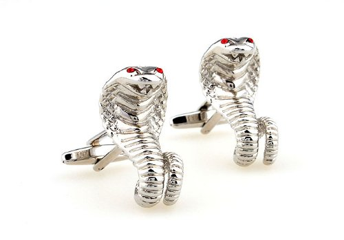 Silver Tone Cobra Red Crystal Eyes Cufflinks