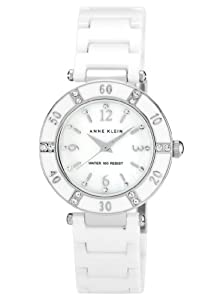 Anne Klein Women's 109417WTWT Swarovski Crystal-Accented White Ceramic Watch