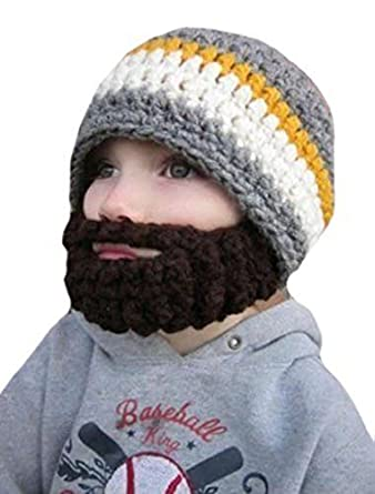 Kid's Bearded Beanie Hats, Striped Face Mask