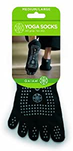 Gaiam S/M Grey Dots Yoga Socks Small/Medium / Bas De Yoga Petit/Moyen