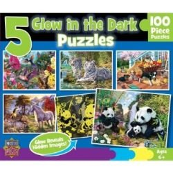 Masterpieces Puzzle Company Glow In The Dark 5-Pack Jigsaw Puzzles (500-Piece), Art By Steve Read front-463248