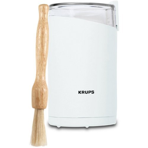 Krups White Fast Touch Oval Electric Spice and Coffee Grinder with Free Cleaning Brush