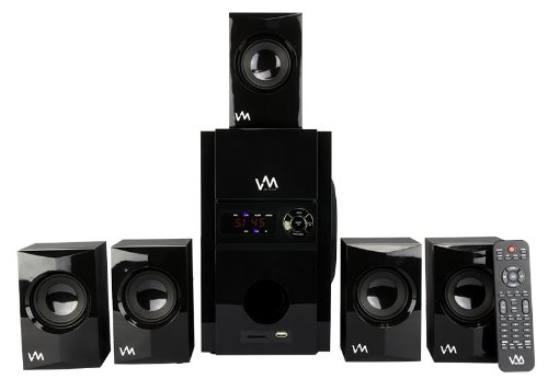 VM Audio EXMS513 600W 5.1 Home Multi Media Surround Sound Speakers System USB