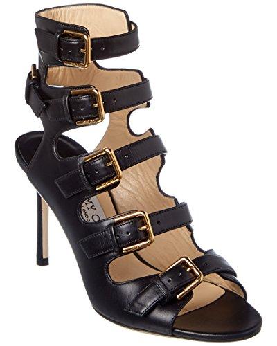 Jimmy Choo Trick 85 Shiny Leather Buckled Sandal, 38.5, Black