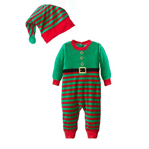 CuteOn Unisex Bambino Natale Babbo Tute Costume di Natale Outfit + Cappello Set Verde 90cm