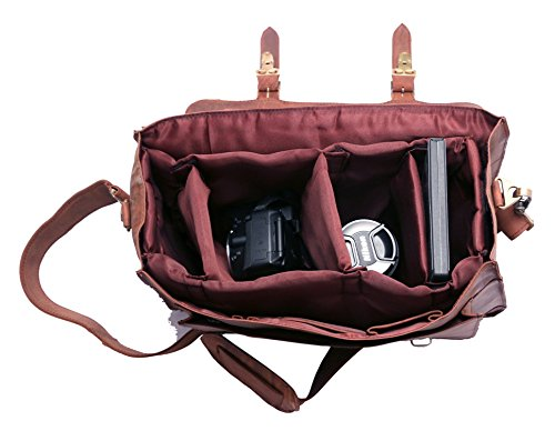 FeatherTouch Leather Camera Dslr Travel Camera Bag 12X9X5 Inches Brown 2