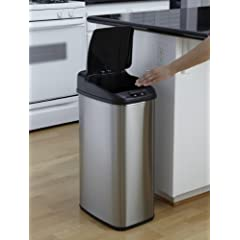 Nine Stars DZT-50-6 Infrared Touchless Stainless Steel Trash Can 13.2-Gallon