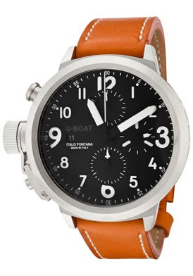 U Boat Black Dial Stainless Steel Orange Brown Leather Mens Watch 6249