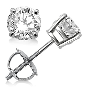 3.00ct. Prong Set Diamond Stud Earrings in Platinum (G-H, VS2-SI1)