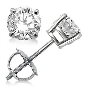 3.00 ct. Prong Set Diamond Stud Earrings 18k White Gold (G-H, VS2-SI1)