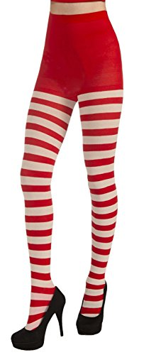 White Red Striped Stockings Tights Elf Christmas Costume Accessory Women Hosiery (Fireman With Hose Adult Costume)