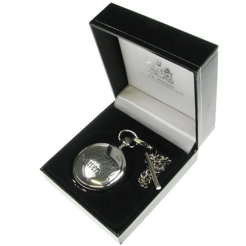 25th Anniversary Gift, Engraved Man's Wedding Anniversary Mother of Pearl Face Pocket Watch with Solid Pewter 'Happy Anniversary' Case Front in a Quality Presentation Box, Wedding Anniversary Gifts