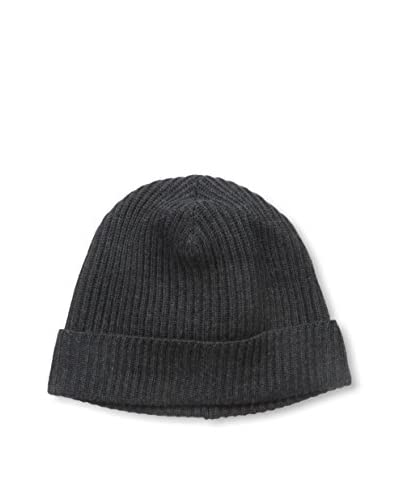 Portolano Men's Ribbed Knit Skull Cap, Heather Charcoal