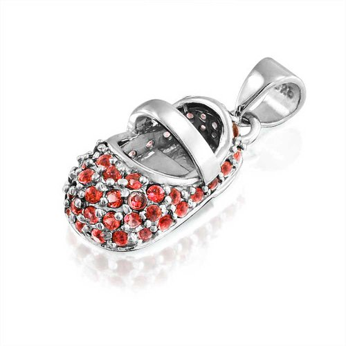 Bling Jewelry January Birthstone Garnet Color Cz Baby Shoe Charm Pendant Silver Free Engraving