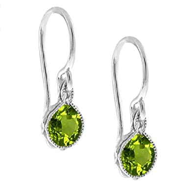 1.80 Ct Green Peridot .925 Silver French Wire Earrings: Jewelry