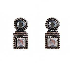 Earrings - E407 - Square and Round Crystal - Post Earring Style ~ Clear and Hematite (Gunmetal Gray)