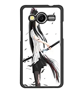 PrintDhaba Girl with Sword D-1203 Back Case Cover for SAMSUNG GALAXY CORE 2 G355H (Multi-Coloured)