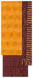 M S Bandhani Women's Cotton Silk Unstitched Dress Material (Yellow and Brown)