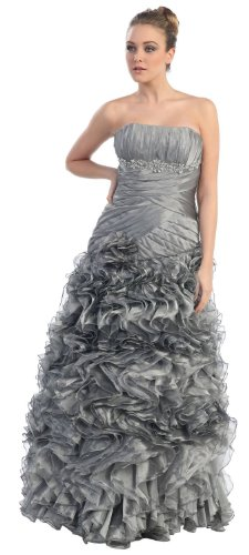 Strapless Layered Ruffle Dress Elegant Prom Long Gown #7022 (8, Gray)