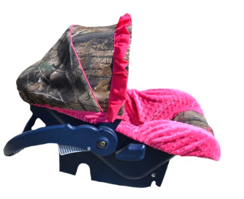 Lowest Price! Custom Infant Car Seat Cover- Sew Precious Baby- Camo & Hot Pink Minky!