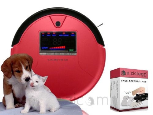 Eziclean VAC100 Rouge aspirateur robot EZicom + Pack Accessoires