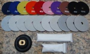 "4"" Wet/Dry Diamond Polishing Pad Complete Set (10pcs+1+a Pint of Densifier/Sealer) for Granite, Concrete, Stone Polishing from Granite Polishing Pads"