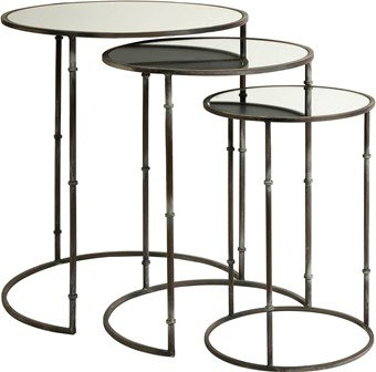 Imax Flouressa Mirror Top Nesting Tables, Set Of 3