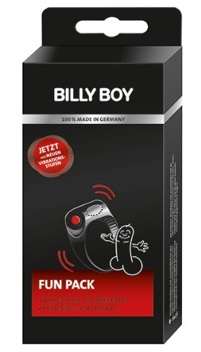 Billy Boy Fun Pack 7-Pieces Consisting of 1 Vibrating Cock Ring / 2 Sachets Passion Fruit Lubricant / 2 Fresh & Fun Wash Cloths / 2 Orange Condoms