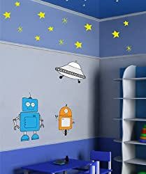 Wall Decal Vinyl Sticker Robots Alphabets Stars and UFO #MM103