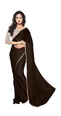 Roop Sangam Women's Chiffon Saree (Sty14_Brown)